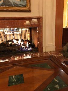 rown framed fireplace