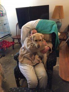 Chip snuggles with his Aunt Amanda